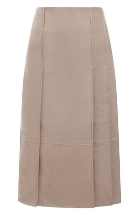 Женская кожаная юбка YVES SALOMON бежевого цвета, арт. 21WYJ20668APXX | Фото 1