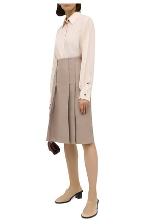 Женская кожаная юбка YVES SALOMON бежевого цвета, арт. 21WYJ20668APXX | Фото 2