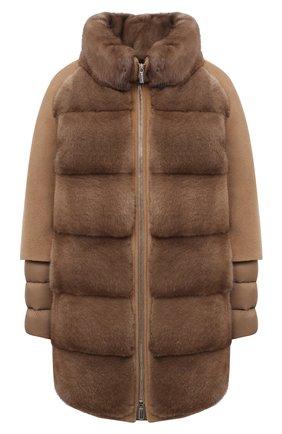 Женское кашемировое пальто с меховой отделкой MOORER бежевого цвета, арт. ANTI0PE-KAS/A20D550KASH   Фото 1