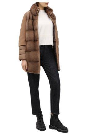 Женское кашемировое пальто с меховой отделкой MOORER бежевого цвета, арт. ANTI0PE-KAS/A20D550KASH   Фото 2