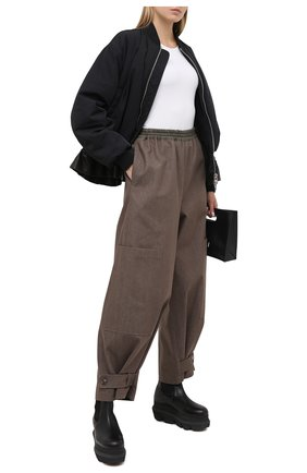 Женские хлопковая брюки Y`S хаки цвета, арт. YR-P46-033   Фото 2