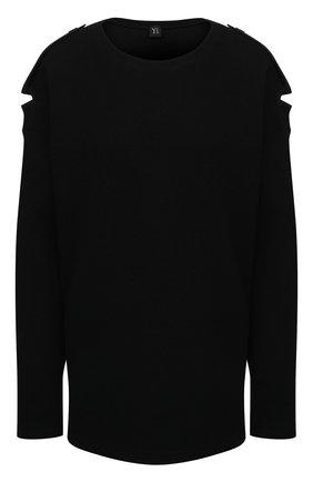 Женский пуловер из хлопка и шерсти Y`S черного цвета, арт. YR-B01-803 | Фото 1