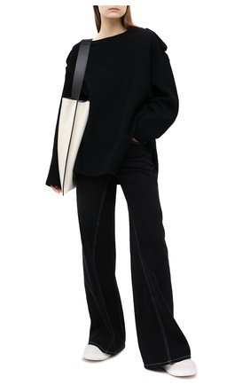 Женский пуловер из хлопка и шерсти Y`S черного цвета, арт. YR-B01-803 | Фото 2