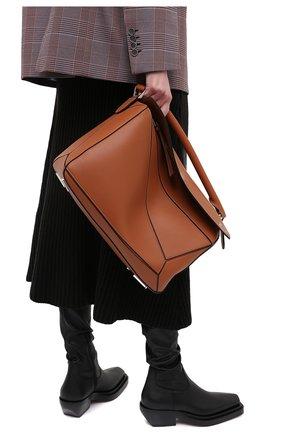 Женская сумка puzzle large LOEWE коричневого цвета, арт. 322.30.S19 | Фото 2