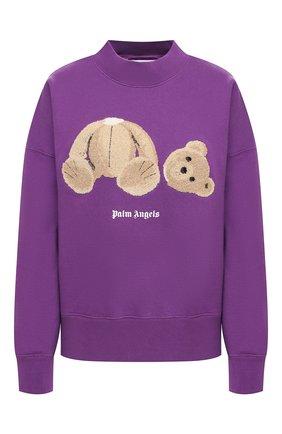 Женская хлопковый свитшот PALM ANGELS фиолетового цвета, арт. PWBA017F20FLE0013760 | Фото 1