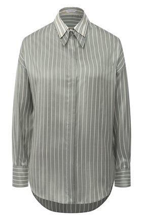 Женская шелковая рубашка BRUNELLO CUCINELLI зеленого цвета, арт. MA741NA506 | Фото 1