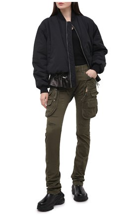 Женские хлопковые брюки DSQUARED2 хаки цвета, арт. S72KA1029/S39021 | Фото 2