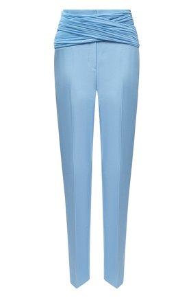 Женские брюки BURBERRY голубого цвета, арт. 4566153   Фото 1 (Длина (брюки, джинсы): Стандартные; Материал внешний: Шерсть, Растительное волокно; Материал подклада: Купро; Женское Кросс-КТ: Брюки-одежда; Силуэт Ж (брюки и джинсы): Прямые)