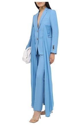 Женские брюки BURBERRY голубого цвета, арт. 4566153   Фото 2 (Длина (брюки, джинсы): Стандартные; Материал внешний: Шерсть, Растительное волокно; Материал подклада: Купро; Женское Кросс-КТ: Брюки-одежда; Силуэт Ж (брюки и джинсы): Прямые)