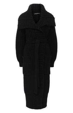 Женский кардиган из шерсти и кашемира DOLCE & GABBANA черного цвета, арт. FXB11T/JBME2 | Фото 1