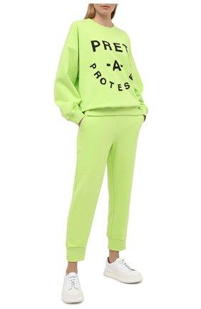 Женский хлопковый свитшот 5PREVIEW светло-зеленого цвета, арт. XPA350 | Фото 2
