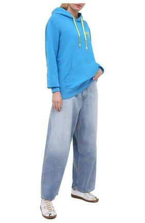 Женская хлопковое худи GOLDEN GOOSE DELUXE BRAND голубого цвета, арт. GUP00479.P000279 | Фото 2