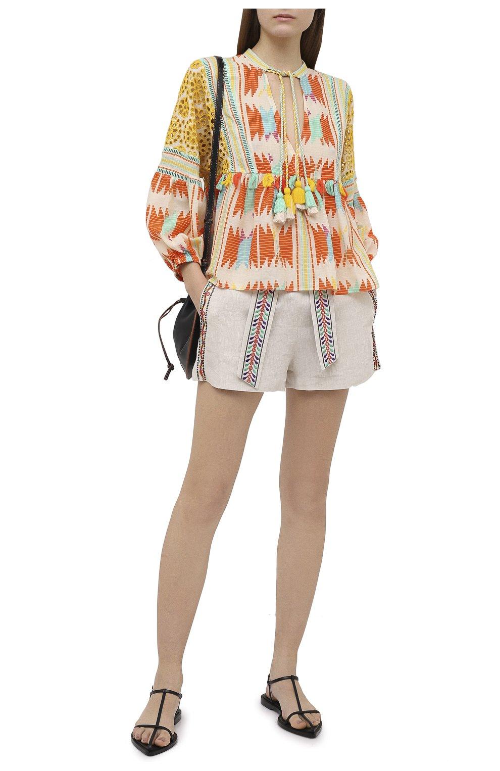 Женские льняные шорты ALICE + OLIVIA бежевого цвета, арт. CC005D55608   Фото 2 (Женское Кросс-КТ: Шорты-одежда; Длина Ж (юбки, платья, шорты): Мини; Материал внешний: Лен; Стили: Бохо)