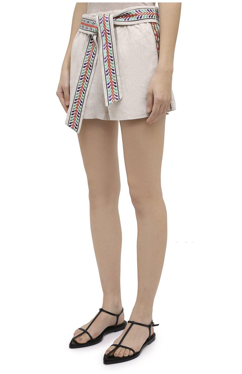Женские льняные шорты ALICE + OLIVIA бежевого цвета, арт. CC005D55608   Фото 3 (Женское Кросс-КТ: Шорты-одежда; Длина Ж (юбки, платья, шорты): Мини; Материал внешний: Лен; Стили: Бохо)