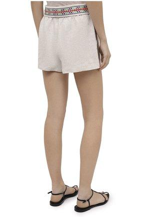 Женские льняные шорты ALICE + OLIVIA бежевого цвета, арт. CC005D55608   Фото 4 (Женское Кросс-КТ: Шорты-одежда; Длина Ж (юбки, платья, шорты): Мини; Материал внешний: Лен; Стили: Бохо)