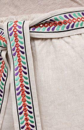 Женские льняные шорты ALICE + OLIVIA бежевого цвета, арт. CC005D55608   Фото 5 (Женское Кросс-КТ: Шорты-одежда; Длина Ж (юбки, платья, шорты): Мини; Материал внешний: Лен; Стили: Бохо)