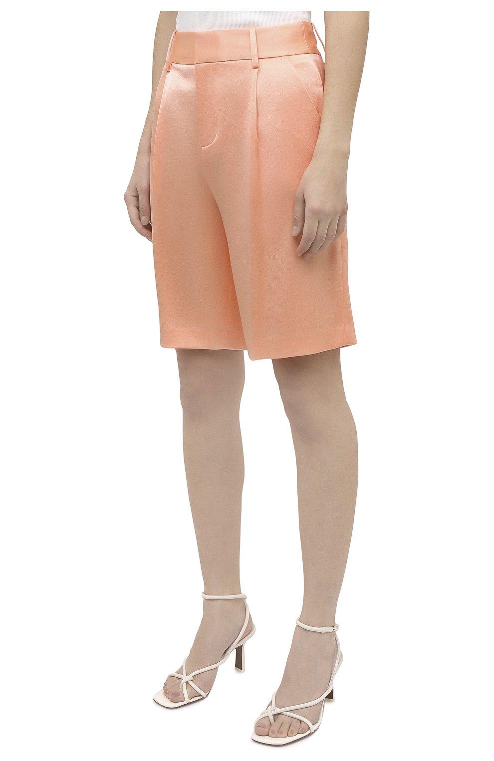 Женские шорты ALICE + OLIVIA оранжевого цвета, арт. CC004205610   Фото 3 (Женское Кросс-КТ: Шорты-одежда; Стили: Гламурный; Материал внешний: Синтетический материал; Длина Ж (юбки, платья, шорты): Миди)