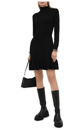 Женское шерстяное платье REDVALENTINO черного цвета, арт. UR0KD01L/5FR | Фото 2