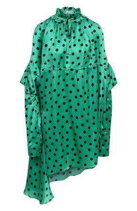 Женское шелковое платье BALENCIAGA зеленого цвета, арт. 642284/TJLB1 | Фото 1