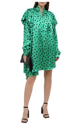 Женское шелковое платье BALENCIAGA зеленого цвета, арт. 642284/TJLB1 | Фото 2