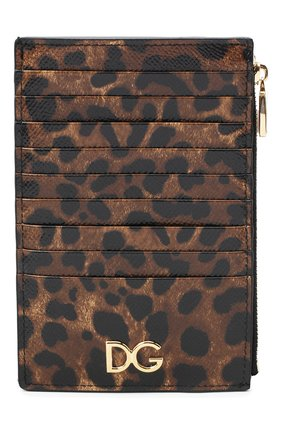 Женский кожаный футляр для кредитных карт DOLCE & GABBANA леопардового цвета, арт. BI1390/AI915 | Фото 1