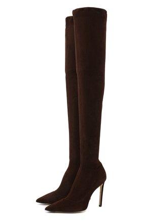 Женские замшевые ботфорты brisa 100 JIMMY CHOO коричневого цвета, арт. BRISA 100/SSU | Фото 1