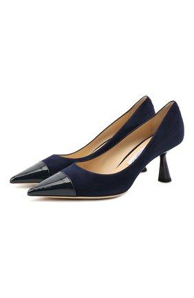 Женские замшевые туфли rene 65 JIMMY CHOO синего цвета, арт. RENE 65/SPT | Фото 1