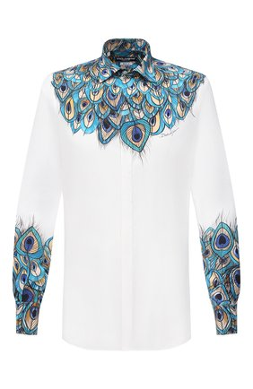 Мужская хлопковая рубашка DOLCE & GABBANA бирюзового цвета, арт. G5GB5T/HP58W | Фото 1