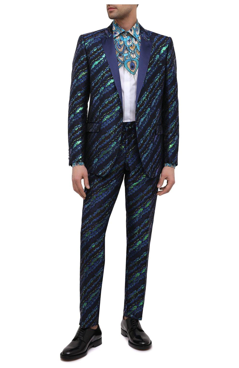 Мужская хлопковая рубашка DOLCE & GABBANA бирюзового цвета, арт. G5GB5T/HP58W   Фото 2