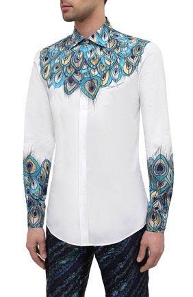 Мужская хлопковая рубашка DOLCE & GABBANA бирюзового цвета, арт. G5GB5T/HP58W   Фото 3