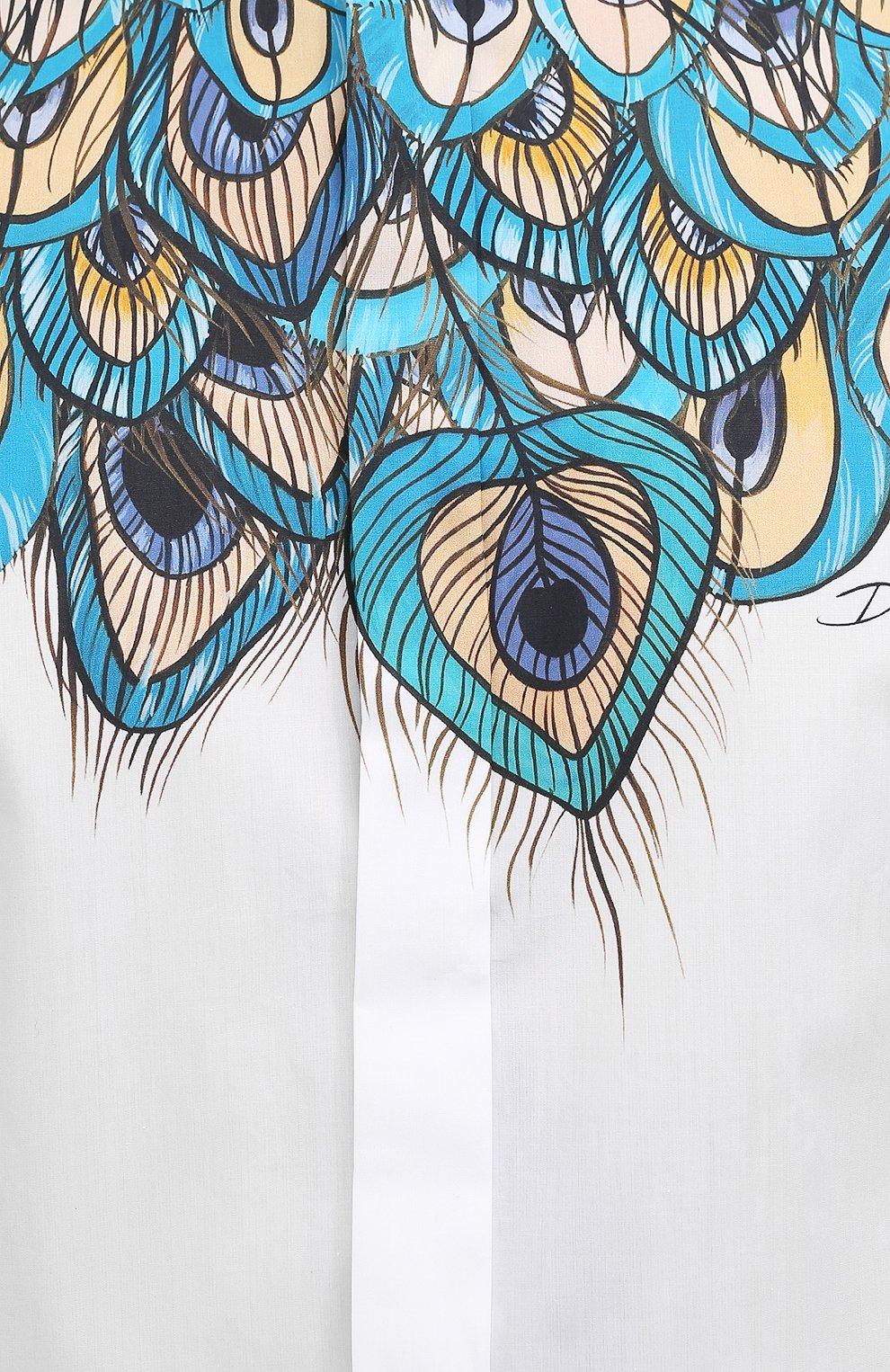 Мужская хлопковая рубашка DOLCE & GABBANA бирюзового цвета, арт. G5GB5T/HP58W   Фото 5