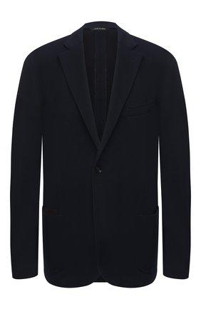 Мужской пиджак из хлопка и шерсти LUCIANO BARBERA темно-синего цвета, арт. 111210/19051/58-62 | Фото 1