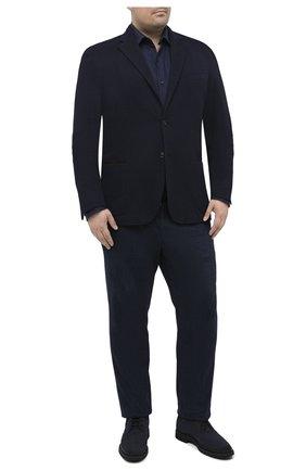 Мужской пиджак из хлопка и шерсти LUCIANO BARBERA темно-синего цвета, арт. 111210/19051/58-62 | Фото 2