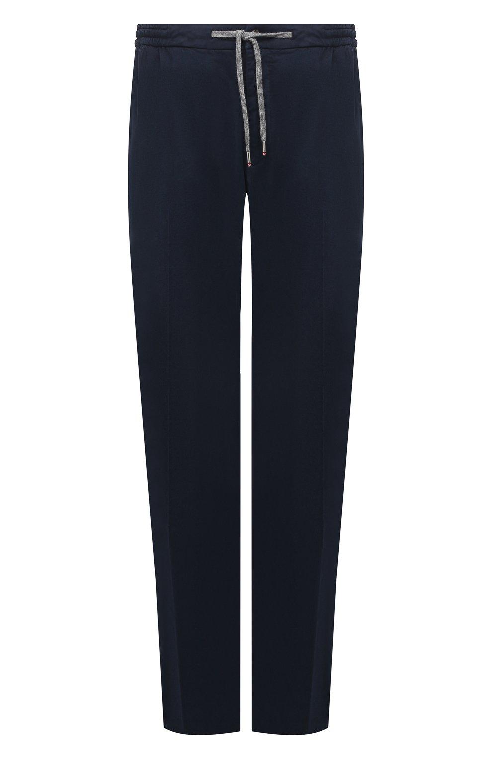 Мужские брюки из хлопка и кашемира MARCO PESCAROLO синего цвета, арт. CARACCI0L0/4210   Фото 1 (Big sizes: Big Sizes; Длина (брюки, джинсы): Стандартные; Случай: Повседневный; Материал внешний: Хлопок; Стили: Кэжуэл)
