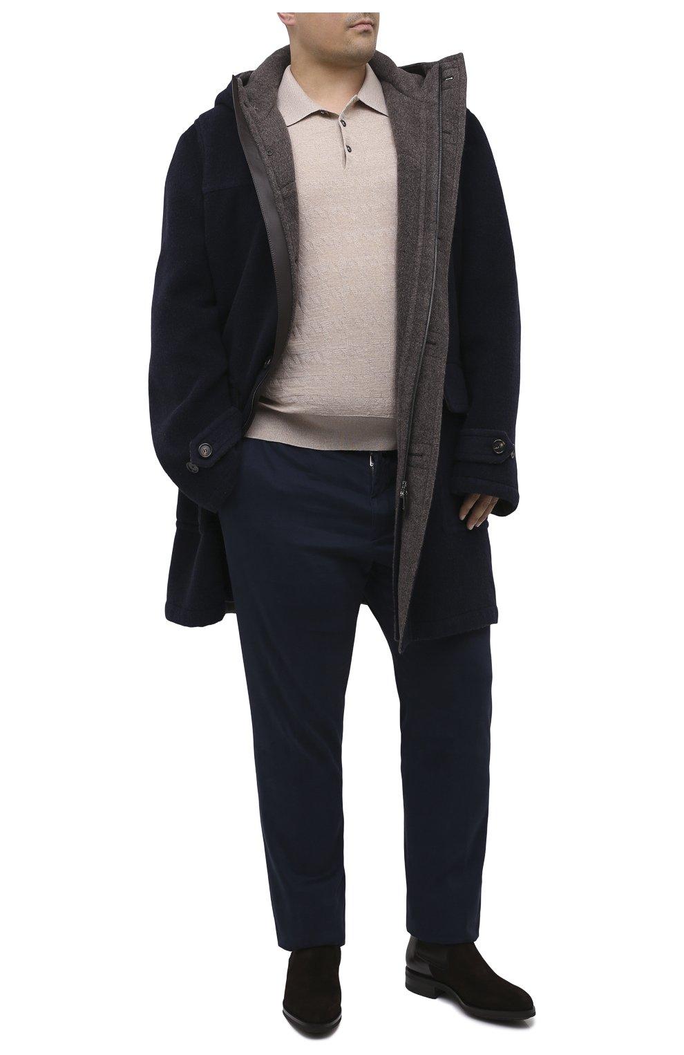 Мужские брюки из хлопка и кашемира MARCO PESCAROLO синего цвета, арт. CARACCI0L0/4210   Фото 2 (Big sizes: Big Sizes; Длина (брюки, джинсы): Стандартные; Случай: Повседневный; Материал внешний: Хлопок; Стили: Кэжуэл)