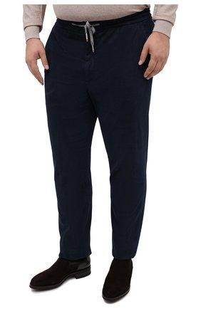 Мужские брюки из хлопка и кашемира MARCO PESCAROLO синего цвета, арт. CARACCI0L0/4210   Фото 3 (Big sizes: Big Sizes; Длина (брюки, джинсы): Стандартные; Случай: Повседневный; Материал внешний: Хлопок; Стили: Кэжуэл)