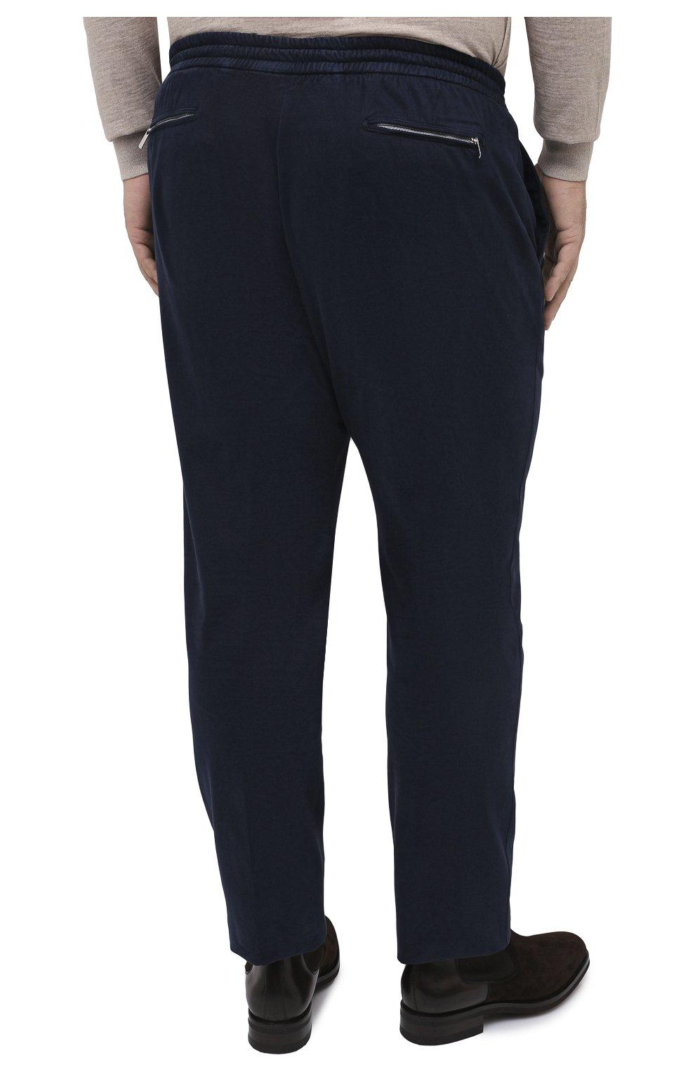 Мужские брюки из хлопка и кашемира MARCO PESCAROLO синего цвета, арт. CARACCI0L0/4210   Фото 4 (Big sizes: Big Sizes; Длина (брюки, джинсы): Стандартные; Случай: Повседневный; Материал внешний: Хлопок; Стили: Кэжуэл)