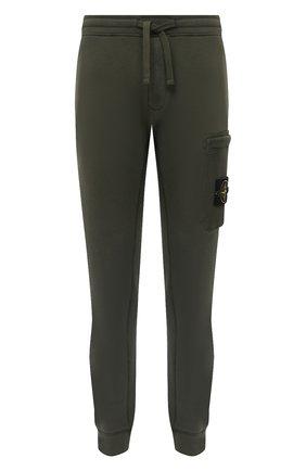 Мужской хлопковые джоггеры STONE ISLAND зеленого цвета, арт. 731564520 | Фото 1