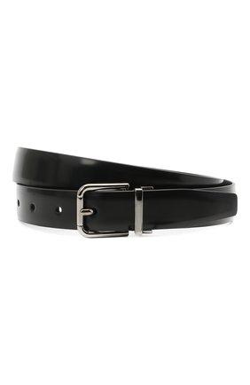Мужской кожаный ремень DOLCE & GABBANA черного цвета, арт. BC4337/AI105 | Фото 1