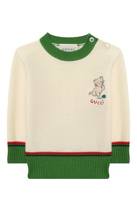 Детский шерстяной пуловер GUCCI белого цвета, арт. 616378/XKBEK | Фото 1