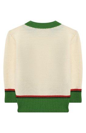Детский шерстяной пуловер GUCCI белого цвета, арт. 616378/XKBEK | Фото 2