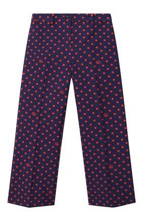 Детские хлопковые брюки GUCCI синего цвета, арт. 629030/ZADZN | Фото 1