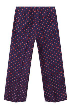 Детские хлопковые брюки GUCCI синего цвета, арт. 629030/ZADZN | Фото 2