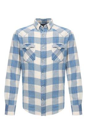 Мужская рубашка из хлопка и льна RRL синего цвета, арт. 782795230 | Фото 1