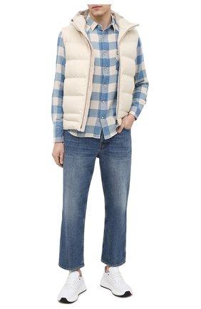 Мужская рубашка из хлопка и льна RRL синего цвета, арт. 782795230 | Фото 2