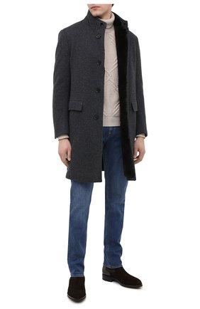 Мужской пальто с меховой подкладкой ERMENEGILDO ZEGNA серого цвета, арт. 877037/42PCS0 | Фото 2