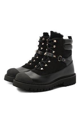 Женские кожаные ботинки valentino garavani rockstud VALENTINO черного цвета, арт. UW2S0R66/SPU | Фото 1