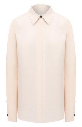 Женская рубашка из вискозы и шелка JIL SANDER светло-бежевого цвета, арт. JSWR605905-WR391900 | Фото 1
