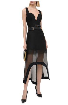 Женское платье из шерсти и шелка ALEXANDER MCQUEEN черного цвета, арт. 641922/QJAB7   Фото 2