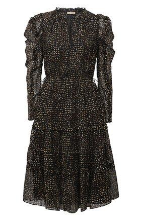 Женское шелковое платье ULLA JOHNSON черно-белого цвета, арт. FA200124 | Фото 1